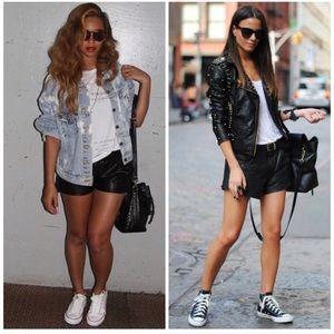 Pants - NERO • Black Faux Leather Cuffed Shorts